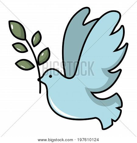 Pigeon with olive branch icon. Cartoon illustration of pigeon with olive branch vector icon for web design