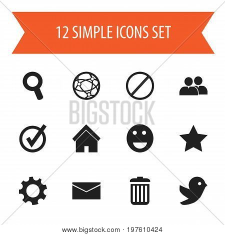 Set Of 12 Editable Internet Icons. Includes Symbols Such As Deny, Mail, Group And More