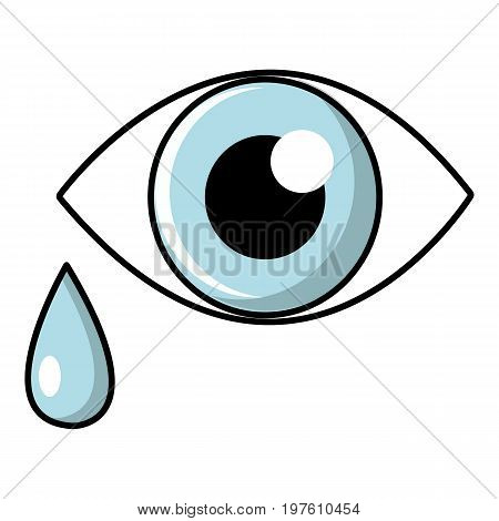 Crying eye icon. Cartoon illustration of crying eye vector icon for web design