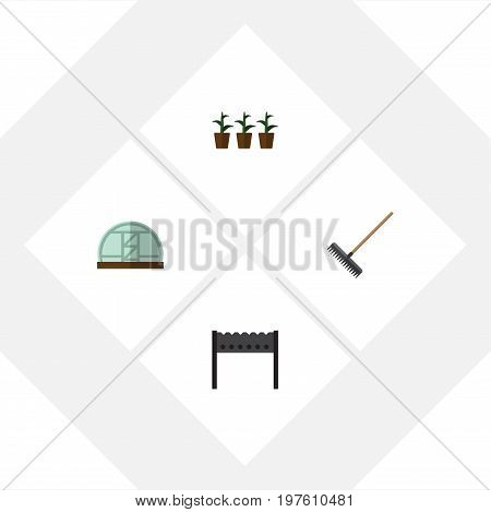 Flat Icon Farm Set Of Harrow, Barbecue, Hothouse And Other Vector Objects