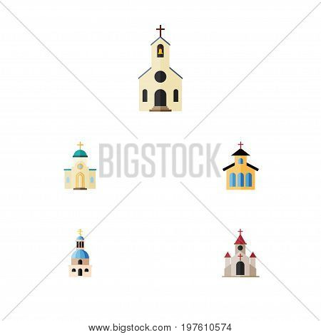 Flat Icon Church Set Of Building, Religious, Church And Other Vector Objects