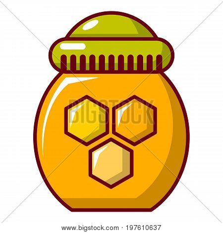 Honey pot icon. Cartoon illustration of honey pot vector icon for web design