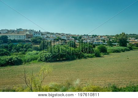 White Houses In The Spanish Countryside Of Cordoba, Spain, Europe