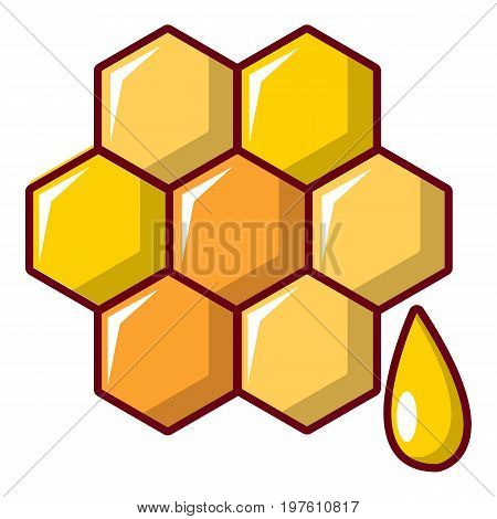 Honey comb icon. Cartoon illustration of honey comb vector icon for web design