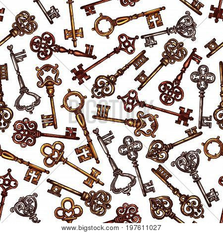 Keys seamless vintage pattern. Vector tracery of heraldic old metal or bronze and brass forged lock keys of royal fortress or antique medieval castle doors and gates with ornate flourish bows and ward