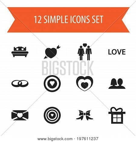 Set Of 12 Editable Amour Icons. Includes Symbols Such As Wedlock, Dartboard, Aim And More