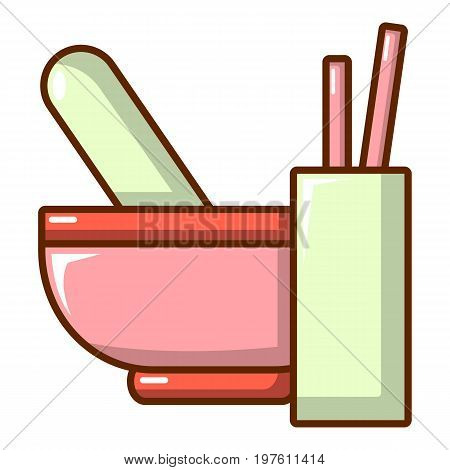 Mortar and pestle icon. Cartoon illustration of mortar and pestle vector icon for web design