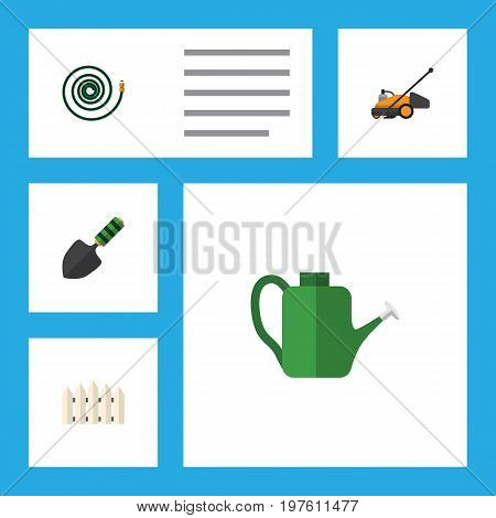 Flat Icon Farm Set Of Hosepipe, Bailer, Lawn Mower And Other Vector Objects