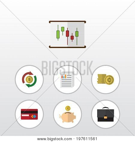 Flat Icon Gain Set Of Diagram, Document, Interchange And Other Vector Objects