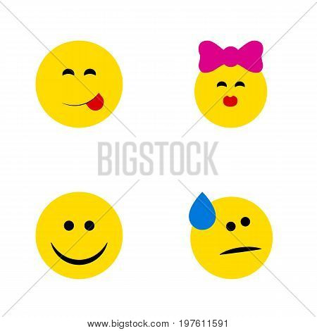 Flat Icon Face Set Of Tears, Caress, Joy And Other Vector Objects