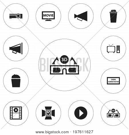 Set Of 12 Editable Filming Icons. Includes Symbols Such As Monitor With Processor, Film Glasses, Projector And More