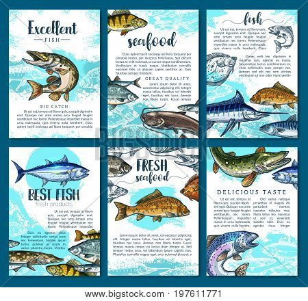 Fish posters set for seafood or fish food market. Vector brochure template design of sea fishing or fisherman big catch of tuna, eel or flounder and salmon, pike or mackerel and herring or carp