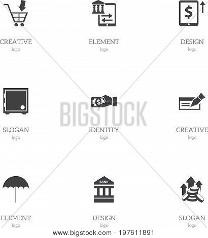 Set Of 9 Editable Investment Icons. Includes Symbols Such As Cash Growth, Pay, Transfer And More