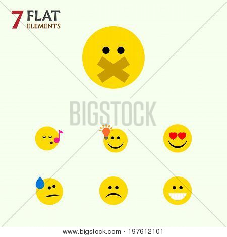 Flat Icon Emoji Set Of Hush, Tears, Grin And Other Vector Objects