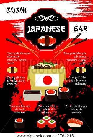 Sushi bar poster for Japanese seafood restaurant cuisine. Vector template of sushi rolls, salmon fish maki or noodle or miso soup and tuna sashimi, tempura shrimp prawn on steamed rice with soy sauce