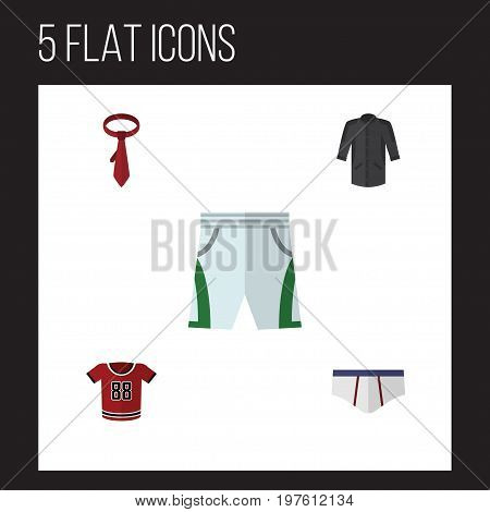 Flat Icon Dress Set Of Underclothes, Uniform, Cravat And Other Vector Objects