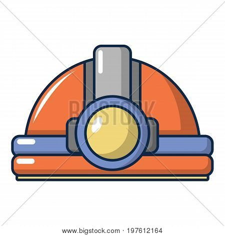 Helmet with light icon. Cartoon illustration of helmet with light vector icon for web design