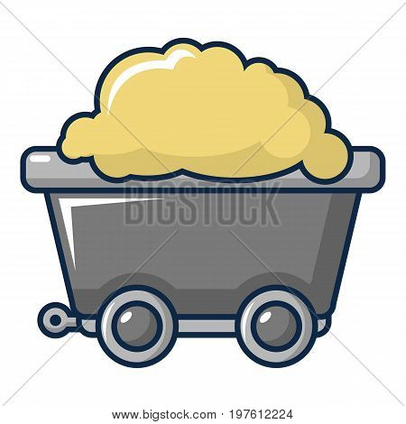 Small coal trolley icon. Cartoon illustration of small coal trolley vector icon for web design