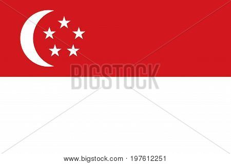 Flag design. Singaporean flag on the white background isolated flat layout for your designs. Vector illustration.