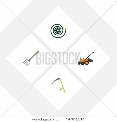 Flat Icon Garden Set Of Hosepipe, Hay Fork, Cutter And Other Vector Objects