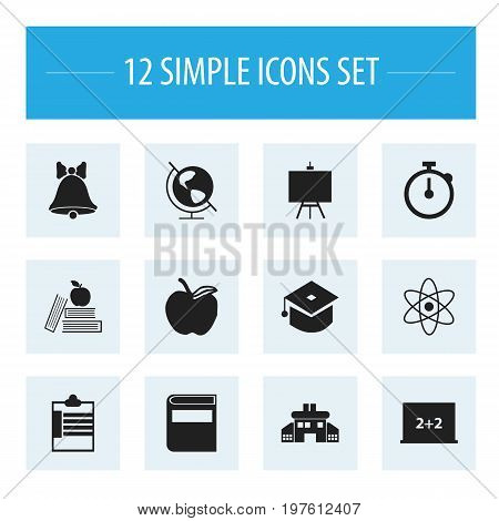 Set Of 12 Editable Knowledge Icons. Includes Symbols Such As Literature, Earth Planet, Ceremony And More