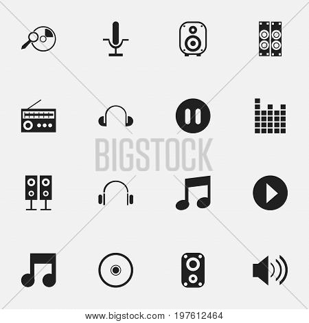Set Of 16 Editable Song Icons. Includes Symbols Such As Sound, Earmuff, Vinyl And More