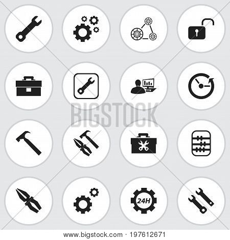 Set Of 16 Editable Mechanic Icons. Includes Symbols Such As Mechanic Cogs, Support Center, Time And More