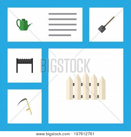 Flat Icon Dacha Set Of Barbecue, Shovel, Bailer And Other Vector Objects