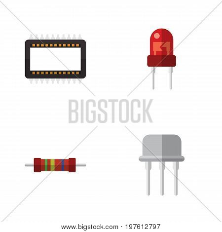 Flat Icon Electronics Set Of Resist, Recipient, Mainframe And Other Vector Objects