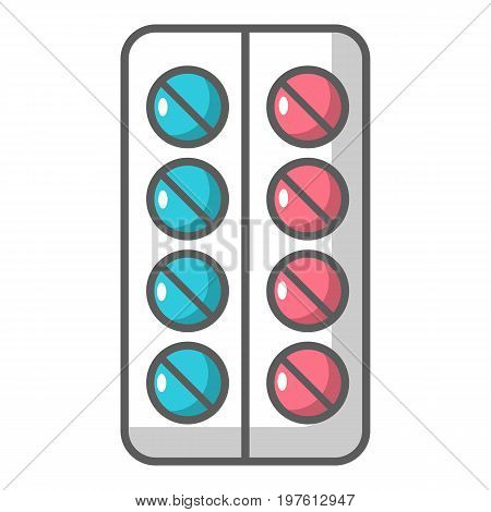 Pills in a blister pack icon. Cartoon illustration of pills in a blister pack vector icon for web design