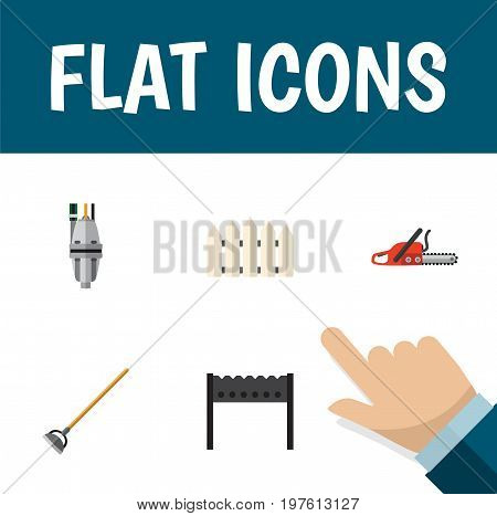 Flat Icon Dacha Set Of Hacksaw, Barbecue, Pump And Other Vector Objects