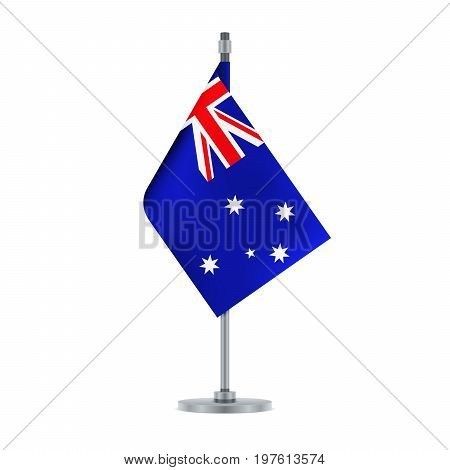 Flag design. Australian flag hanging on the metallic pole. Isolated template for your designs. Vector illustration.