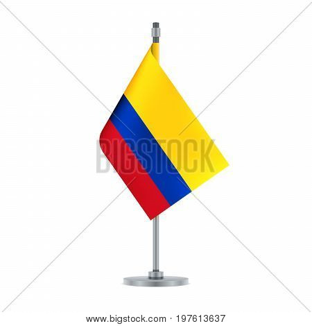 Colombian Flag Hanging On The Metallic Pole, Vector Illustration