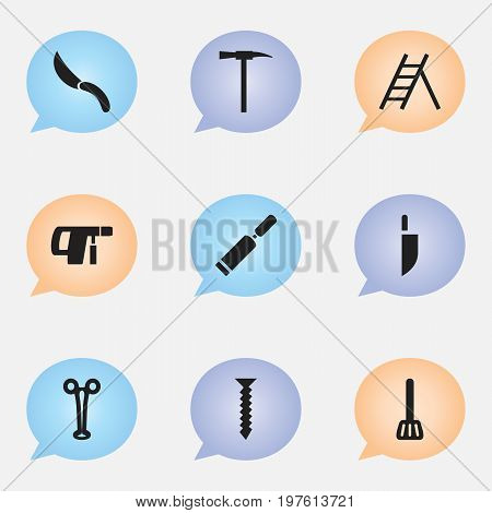 Set Of 9 Editable Instrument Icons. Includes Symbols Such As Jackknife, Staircase, Pickaxes And More