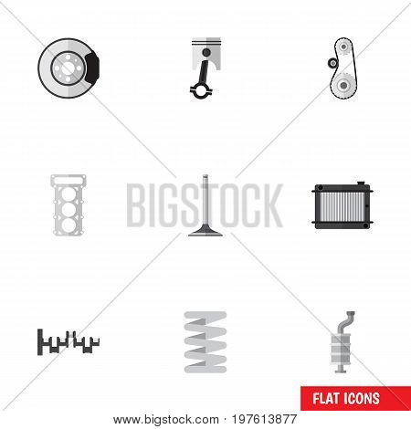 Flat Icon Component Set Of Cambelt, Heater, Conrod And Other Vector Objects