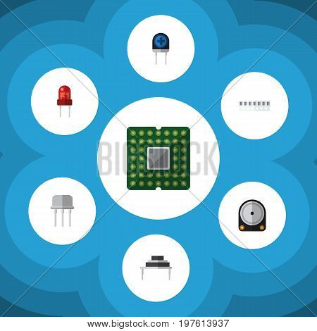 Flat Icon Technology Set Of Resist, Recipient, Transducer And Other Vector Objects