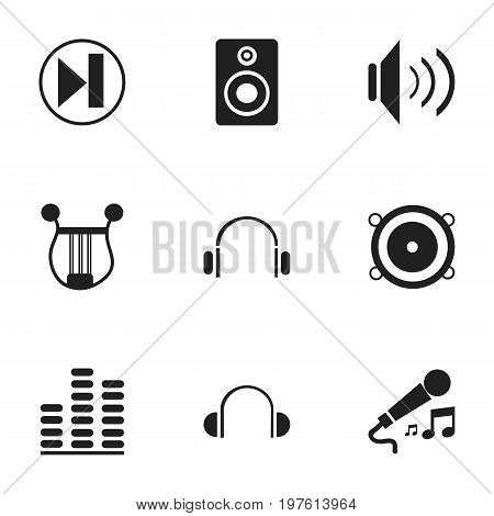 Set Of 9 Editable Audio Icons. Includes Symbols Such As Musical Instrument, Earmuff, Forward And More