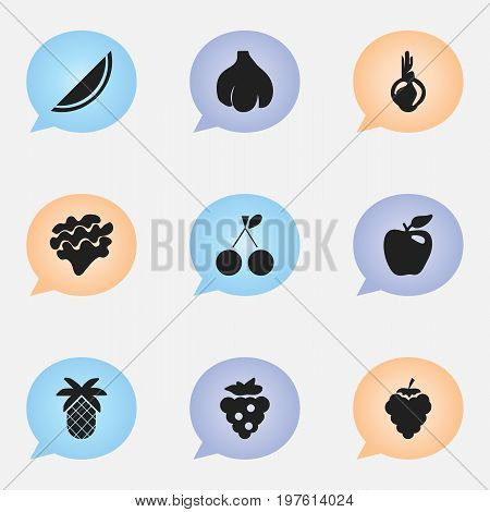 Set Of 9 Editable Berry Icons. Includes Symbols Such As Morello, Sativum, Seedless And More