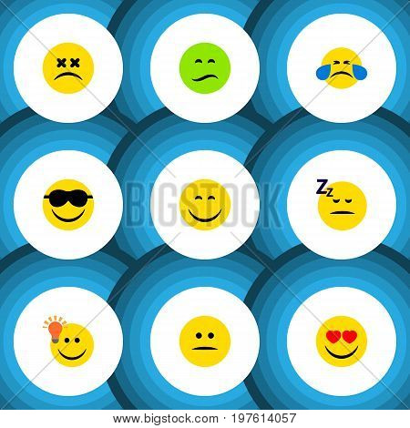 Flat Icon Emoji Set Of Have An Good Opinion, Asleep, Love And Other Vector Objects