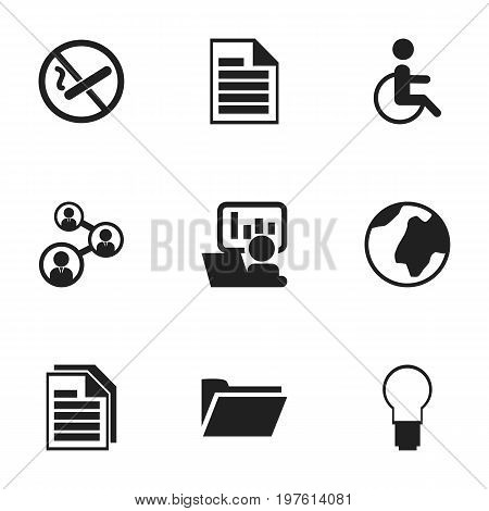 Set Of 9 Editable Bureau Icons. Includes Symbols Such As Sheets, Staff, Smoking Forbidden And More