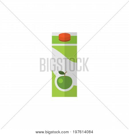 Packet Beverage Vector Element Can Be Used For Apple, Juice, Packet Design Concept.  Isolated Apple Juice Flat Icon.