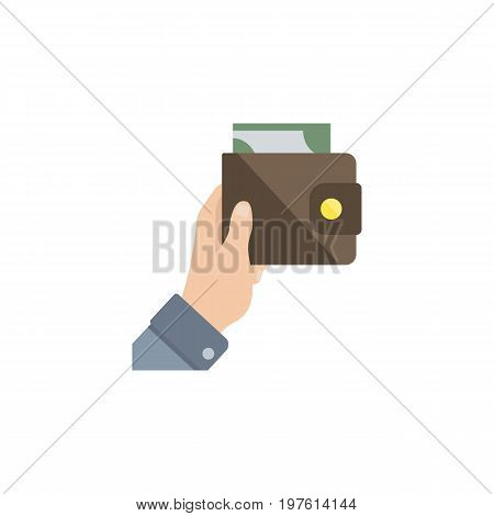 Purse Vector Element Can Be Used For Purse, Currency, Money Design Concept.  Isolated Currency Flat Icon.