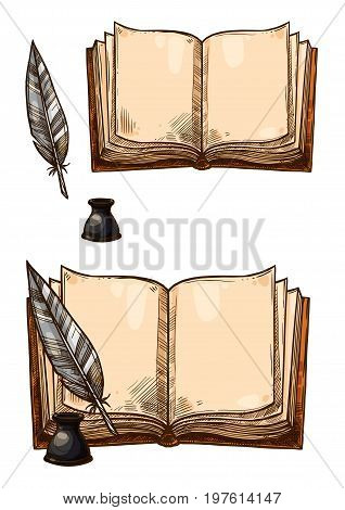 Old books with ink quill feather pen and inkwell. Vector isolated sketch icons of retro or antique writing stationery of open book manuscript with brown rough paper sheets for poetry work