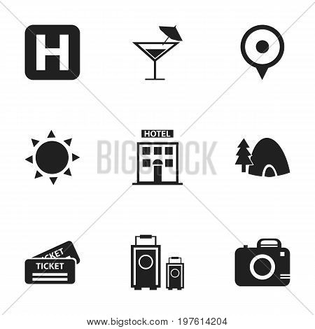 Set Of 9 Editable Journey Icons. Includes Symbols Such As Helipad, Photo Cam, Tabernacle And More