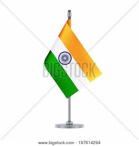 Indian Flag Hanging On The Metallic Pole, Vector Illustration