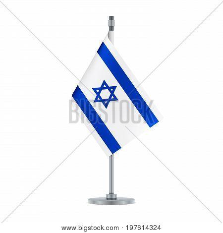 Israeli Flag Hanging On The Metallic Pole, Vector Illustration