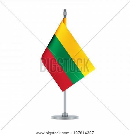 Lithuanian Flag Hanging On The Metallic Pole, Vector Illustration