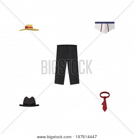 Flat Icon Clothes Set Of Panama, Pants, Underclothes And Other Vector Objects