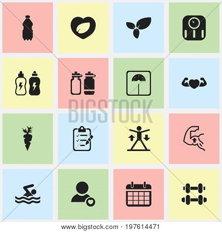 Set Of 16 Editable Lifestyle Icons. Includes Symbols Such As Questionnaire, Profile, Plant And More