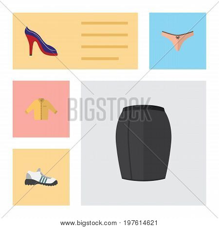 Flat Icon Clothes Set Of Heeled Shoe, Stylish Apparel, Lingerie And Other Vector Objects